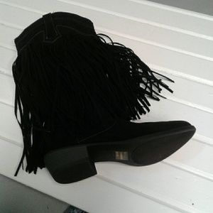 Qupid  7 faux black suede fringe cowgirl boots.